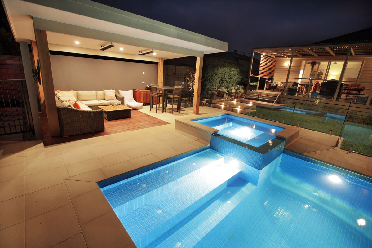 Melbourne pool builder custom outdoor rooms and landscaping for Rec room pools