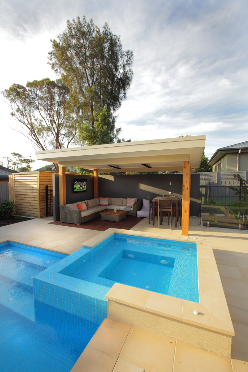 Melbourne pool builder custom outdoor rooms and landscaping for Garden pool room